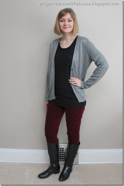 burgundy skinny pants, gray and black