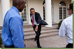 President Barack Obama practices his pitching form with personal aide Reggie Love and Jake Levine in the Rose Garden of the White House, March 31, 2010. Later that day, the President threw out the first pitch on opening day of the baseball season prior to the game between the Washington Nationals and the Philadelphia Phillies. 