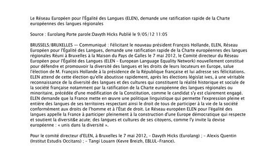 Comunicat Réseeau Européen pour l'Égalité des Langues