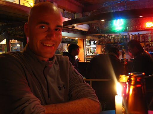 Enjoying a drink at one of the many bars in Baños, Ecuador
