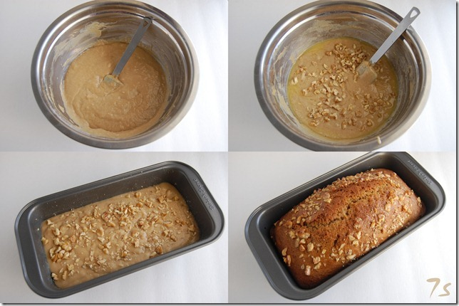 Eggless walnut loaf bread process