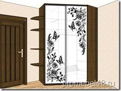 эскиз углового шкафа с рисунком