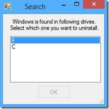 NanWick Windows Uninstaller selezionare partizione Windows da disinstallare