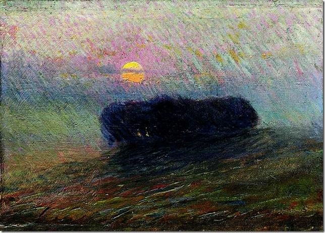 Umberto Boccioni -Paesaggio al tramonto, 1906