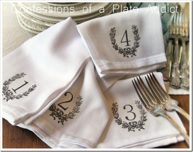 CONFESSIONS OF A PLATE ADDICT Numbered Napkins