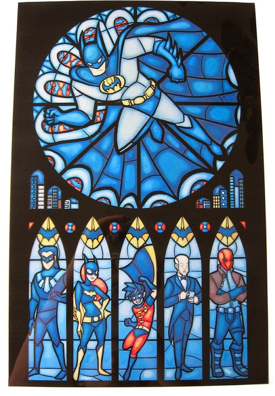 Stained Glass Batman Window Print from Fay Productions