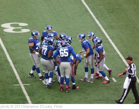 'New York Giants Huddle Up' photo (c) 2012, Marianne O'Leary - license: http://creativecommons.org/licenses/by/2.0/