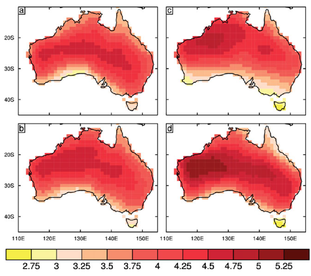 Median projected changes in Australia temperature (in °C) in each season, for 2080–2099 relative to 1986–2005 under RCP8.5, using CMIP5 GCMS (method of CSIRO and BOM, 2007) (a) DJF, (b) MAM, (c) JJA and (d) SON. Graphic: CSIRO / BOM