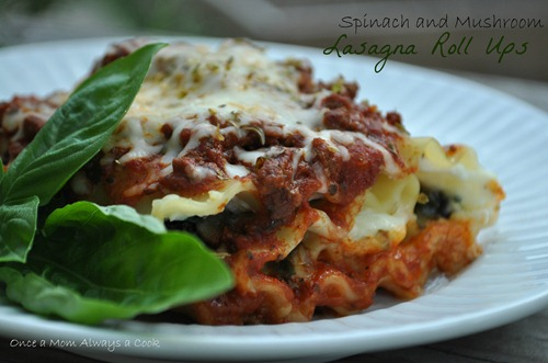 spinach and mushroom lasagna roll ups