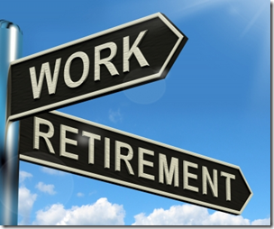 Photograph of a street sign pointing to either work or retirement
