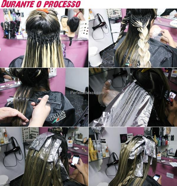 luzes em cabelo com aplique