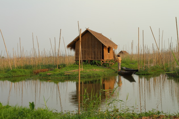A hut in the floating gardens of Inle Lake, Myanmar
