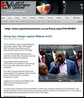 MALEMA GENOCIDE CHARGE ICC BY PRAAG DAN ROODT MAY262011