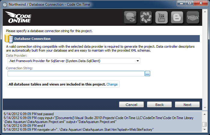 Configuration of database connection string to SQL Server