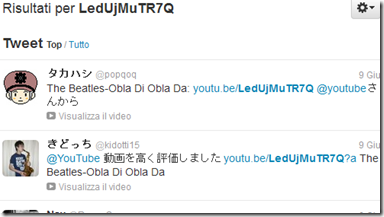 Twitter Search tweet con titolo canzone di YouTube