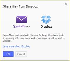 attach ไฟล์จาก dropbox ใน yahoo mail
