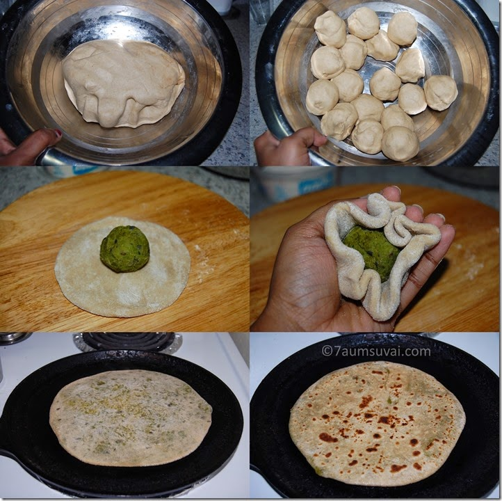 Green peas paratha process