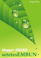 Blogger Award Setetes Embun