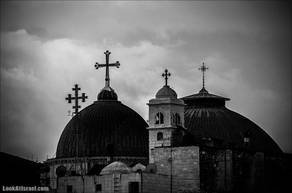 LookAtIsrael.com: Купола Иерусалима (israel  черным бело  Гроба Господня монастыри и церкви иерусалим )