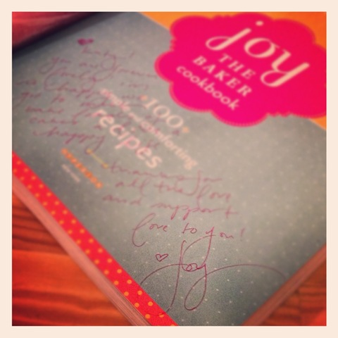 Joy the Baker's purple-penned note in my copy of her cookbook