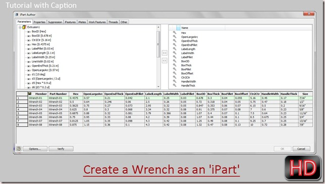 Create a Wrench as an 'iPart' through