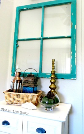 teal vintage window