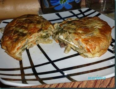 tortilla de acelgas rellena de queso brie,racion copia