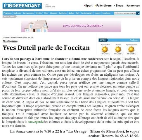 cantaire Yves Duteil 031011 L'indépendant