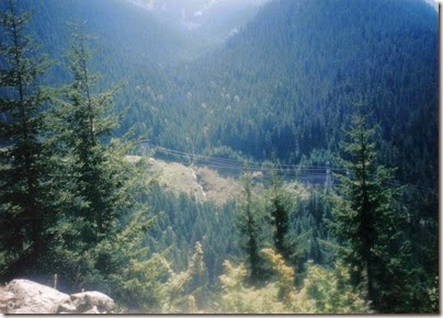 View of Deception Creek from Windy Point on the Iron Goat Trail in 1998