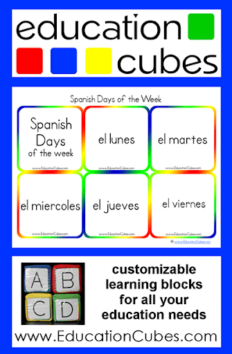 Cubes: Spanish Days of the Week