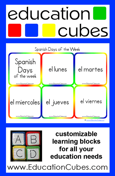 Education Cubes: Spanish Days of the Week