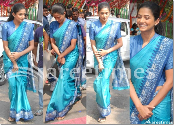 Priyamani_Blue_Silk_Saree