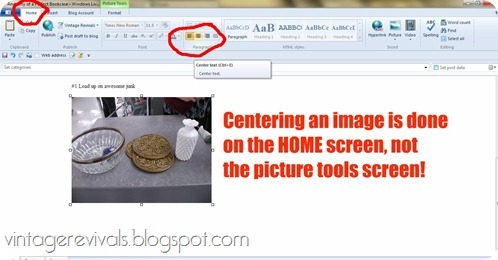 How to center an image in Windows Live Writer