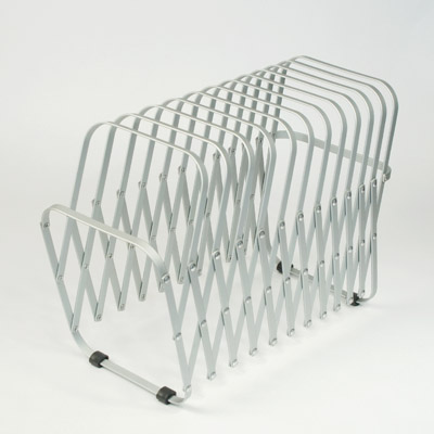 This aluminum collator is perfect for keeping magazines at arm's reach. (canoeonline.net)