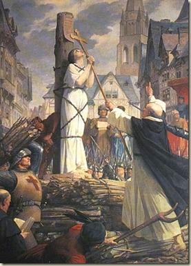 Joana D'arc, conhecida vítima da Inquisição.
