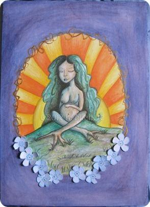 Creation Goddess 9x12 mixed media