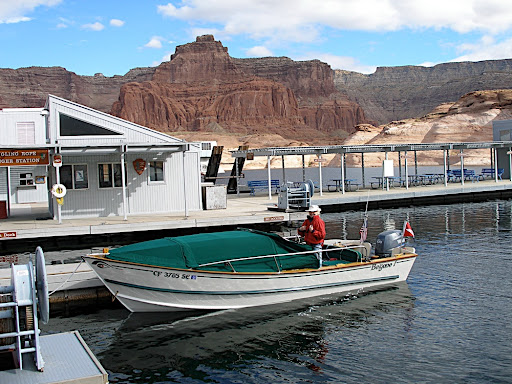 Lake Powell's Dangling Rope Marina......gas 1/3 the way up the lake.....Begone! was built as a travel skiff and at 5mpg, we've got the fuel to explore the entire lake with one fuel stop.