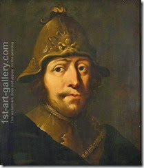 A-Tronie-Of-A-Soldier,-Head-And-Shoulders,-Wearing-A-Helmet-And-A-Gorget