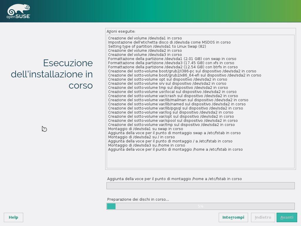 openSUSE Factory Installer - Esecuzione dell'installazione in corso