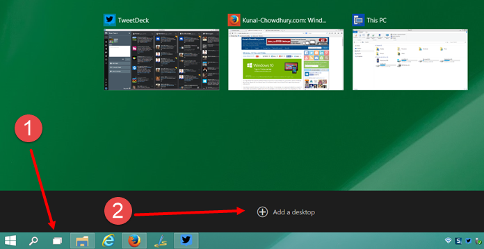Add a new virtual Desktop in Windows 10 (www.kunal-chowdhury.com)