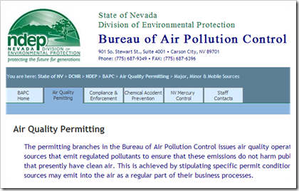 Nevada Division of Environmental Protection Bureau of Air Pollution Control