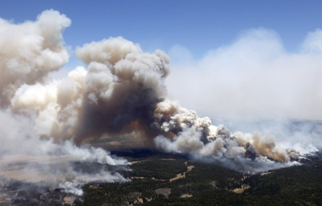 Miles of smoke billow skyward from the Wallow Fire near Greer, Ariz., 7 June 2011. Officials say the blaze has already burned 486 square miles and winds have been driving the flames 5 to 8 miles a day since the fire began. Ross D. Franklin / AP