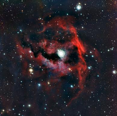 vista detalhada da cabeça da Nebulosa da Gaivota