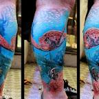Turtle on the sea - Leg Tattoos Designs
