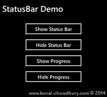 How to hide StatusBar in Windows Phone 8.1? (www.kunal-chowdhury.com)