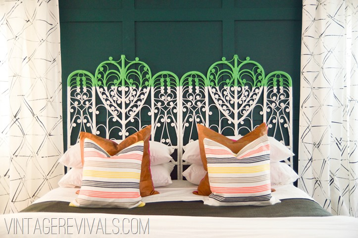 Color Blocked Vintage Wicker Headboard-2