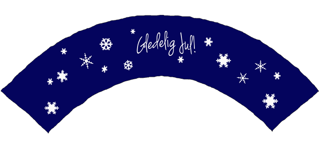 cupcake wrapper gledelig  jul blå snøkrystaller