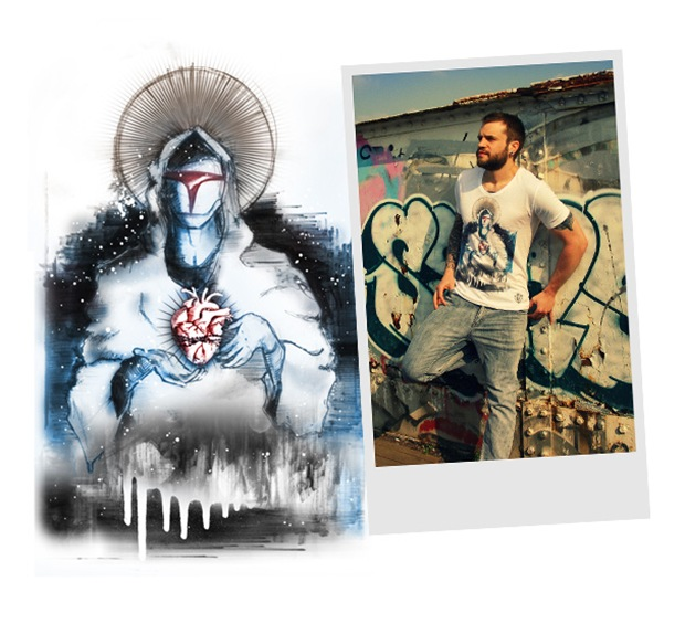 """Men's White round neck easy fit T-shirt. This design, inspired by various perceptions of future religion was first sketched in pencil then enhanced using pen and markers, later more paint was added and the canvas was inclined to allow the paint to run. Finally spray paint was used to complete the design with misty hues and white star like speckles""."