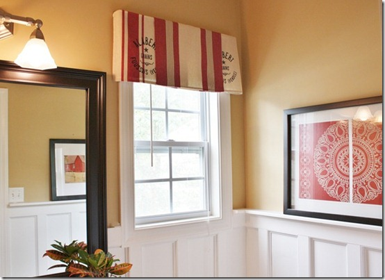 friday feature--grain sack dish towel valance from sand and sisal blog