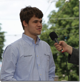 Carlsen being interviewed during the opening in Biel Chess Festival 2012